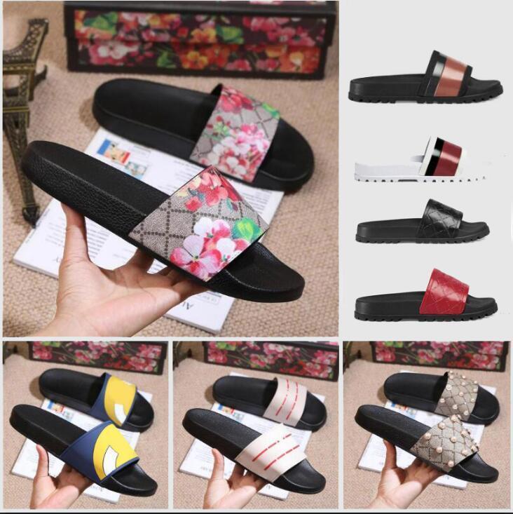 2020 디자이너 남성 여성 샌들 올바른 꽃 상자 먼지 가방 신발 뱀 인쇄 슬라이드 여름 와이드 플랫 샌들 슬리퍼