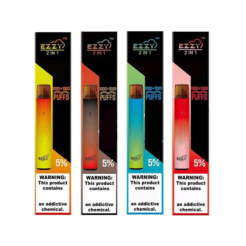EZZYY 2 en 1 Vape Vape desechable E Cigarrillos con batería de 900mAh 6.5ml 2000puffs