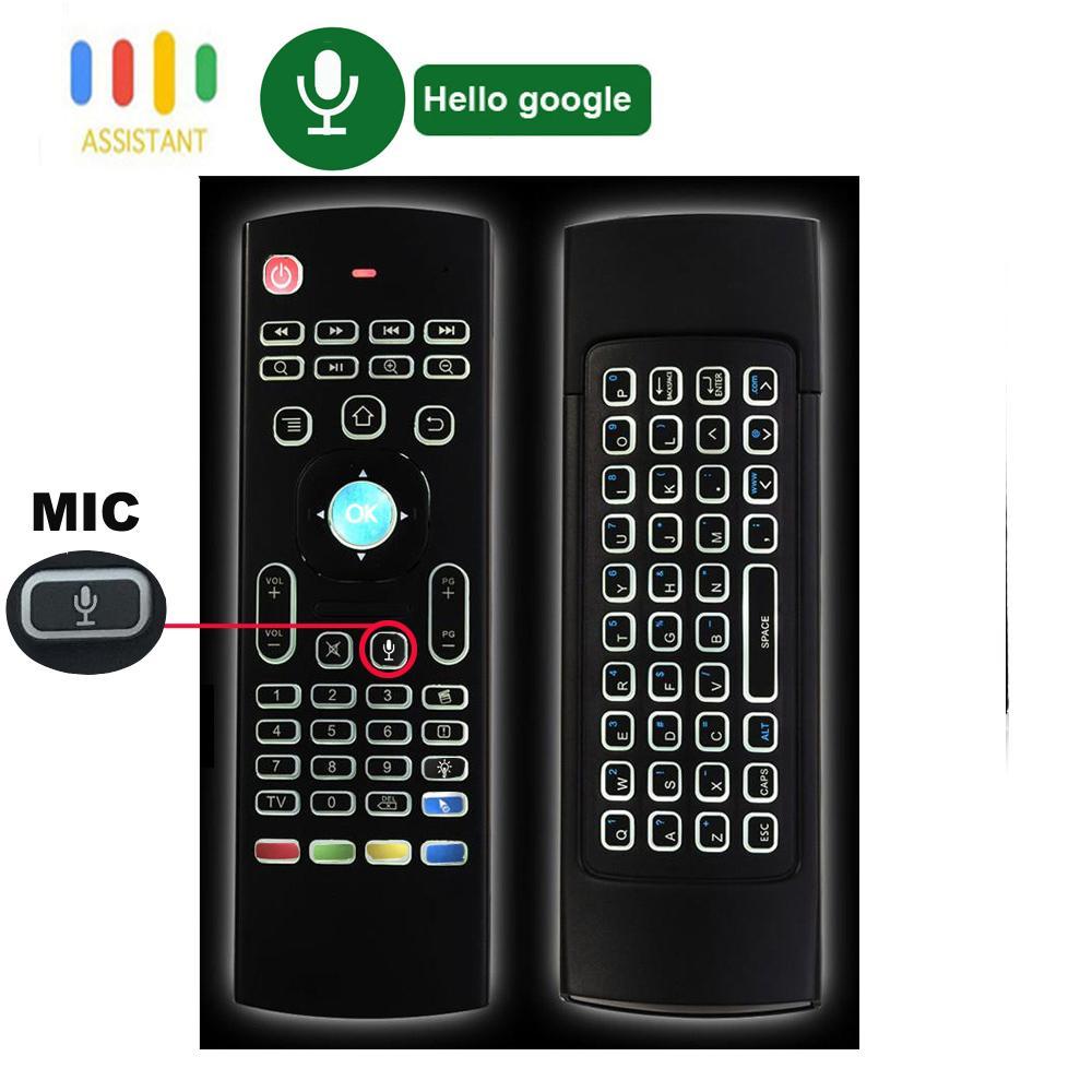 MX3 Pro 7 Colorfull retroilluminato Mini tastiera wireless Wireless Mouse MIC Google Voice Telecomando Remote Gyro IR Learning per Android TV Box PC