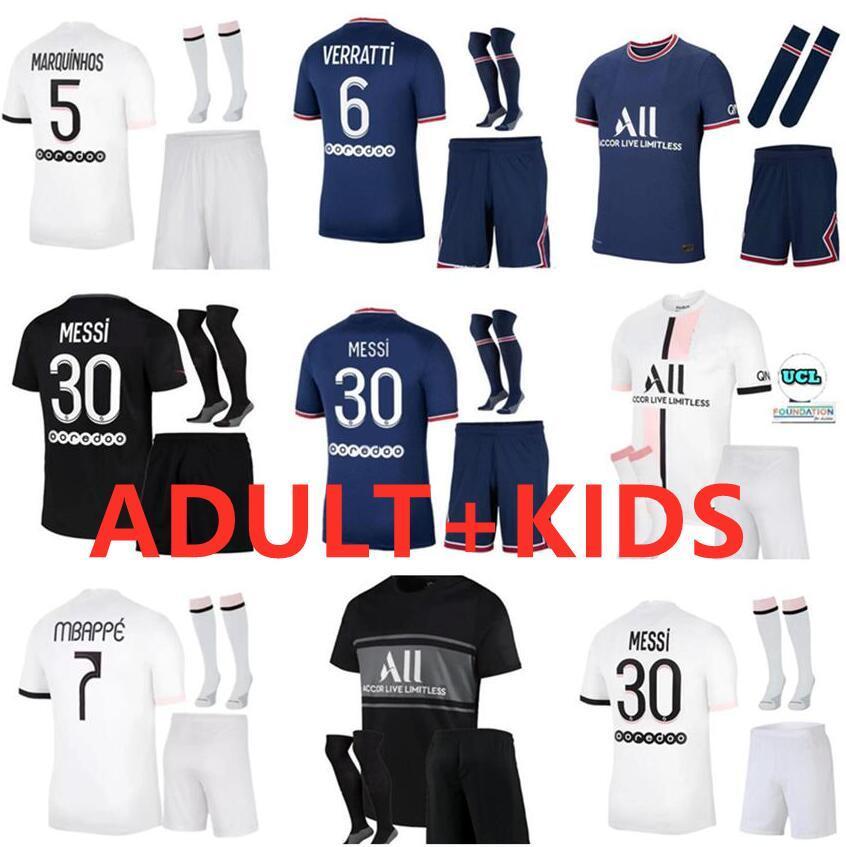 Paris Messi Sergio Ramos Futebol Jerseys Adulto Crianças 21 22 Maillots de Futebol Camisas 2021 2022 Mbappe Icardi Homens Kit Conjuntos Enfants Maillot Foot Shorts Sock