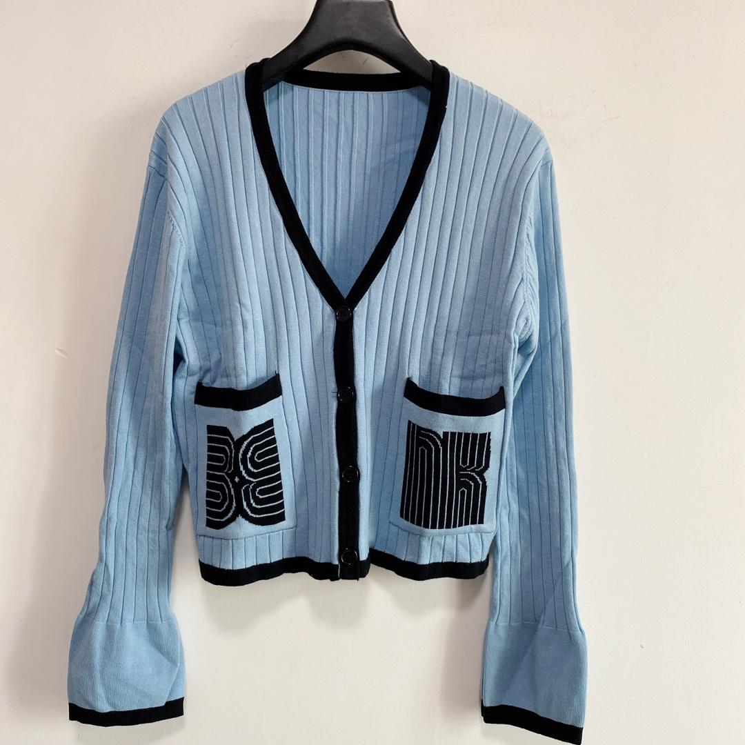 Milan pist kazak 2021 sonbahar v boyun uzun kollu baskı kadın kazak yüksek son jakarlı hırka tasarımcı giyim 0730-16