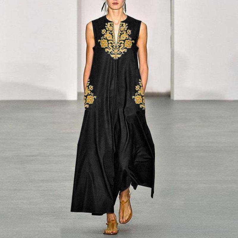Женские летние богемные цветочные принты Maxi длинное платье старинные повседневные танки Vestido Sundress V-образным вырезом плюс размер одежды одежды платья