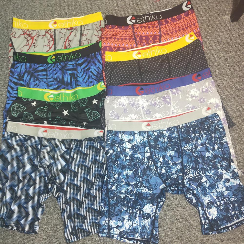 Ethika الرجال الملاكمين السروال تعزيز أنماط عشوائية شاطئ السراويل السباحة جذوع الملابس الداخلية الرياضة الهيب هوب الشارع ملخصات الكلسون سريعة الجافة متعدد الألوان زائد الحجم VDBV