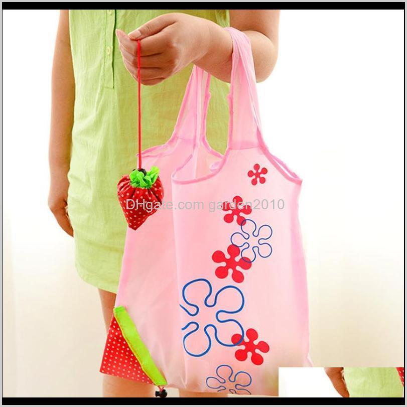 Storage Handbag Stberry Foldable Shopping Reusable Folding Grocery Nylon Bags Gift Bag For Party Wedding Festival Aqjjc 8Kgol