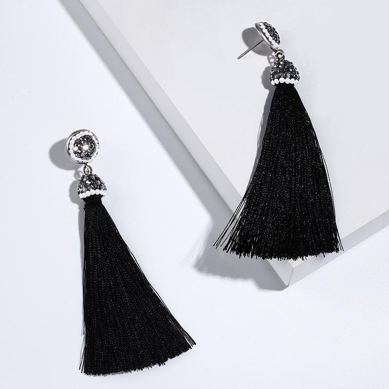 디자이너 2021 뜨거운 새로운 긴 스타일 고급 다이아몬드 술 귀걸이 여성의 ERK69