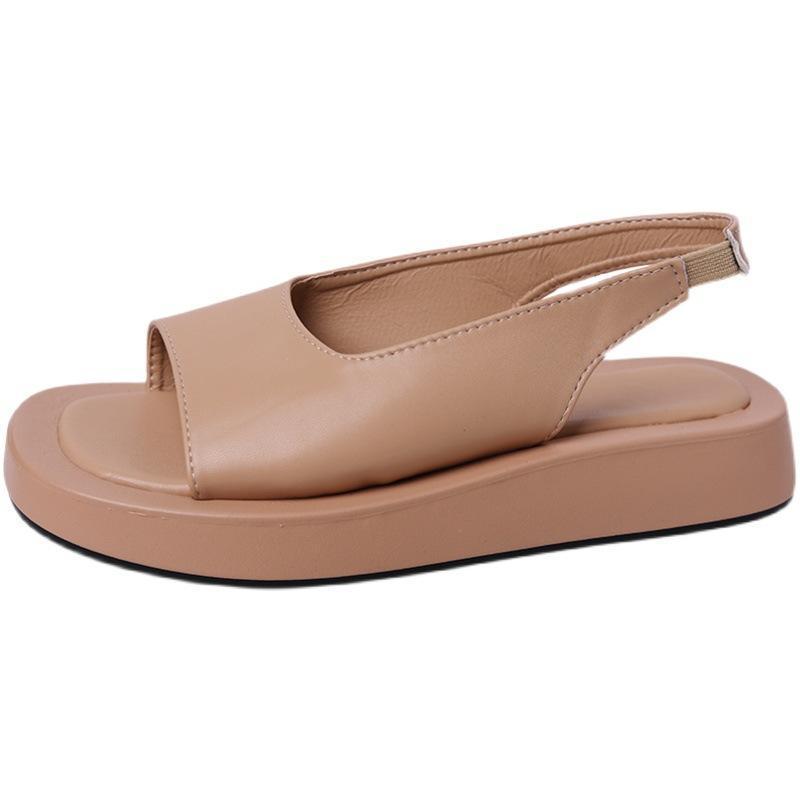 الصنادل لطيفة الصيف المرأة شقة مفتوحة تو الأحذية عارضة منصة السيدات ل zapatos دي موهير