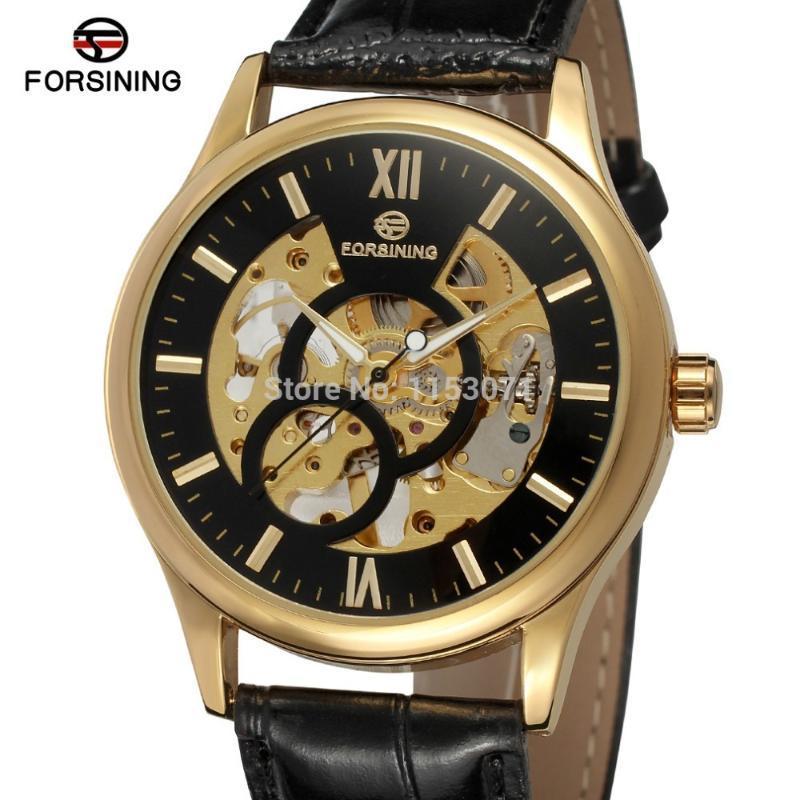 Relojes Mekanik Hareketi İskeleti Siyah Hakiki Deri Ile Saatler Erkekler FSG8094M3G3 Saatı