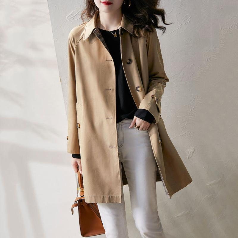 Spring And Autumn Simple Style Small Leisure High End Temperament Women's Coat Windbreaker Middle Length Trench Coats