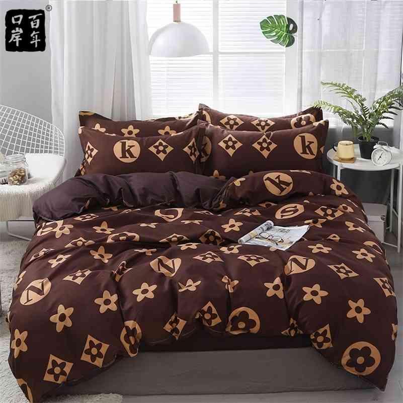 Conjunto de ropa de cama 4 unids / set 21Style Hoja de cama Funda de almohada Conjuntos de tapa de edredones Stripe Aloe Cotton Set Home Cama Productos textiles 201211