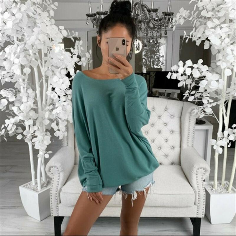 Meihuida Frauen außerschulter T-Shirt Tops Übergroßes Baggy T-Shirt Weibliche Frühling Herbst Langarm Tasche Pullover Hemd Frauen Blusen Hemd