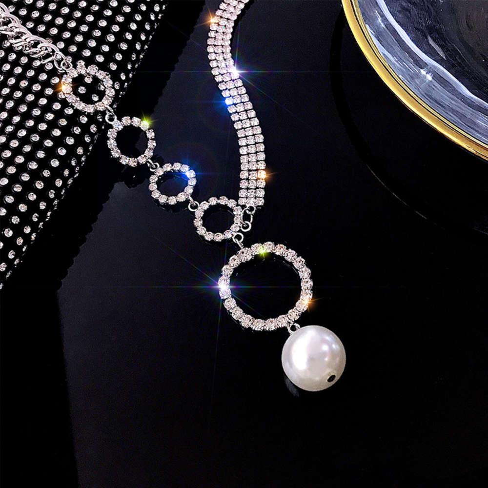 Estilo diamante completo anel grande pérola colar mulheres cadeia pescoço ósseo net redesco vermelho faixa simples versátil colarinho