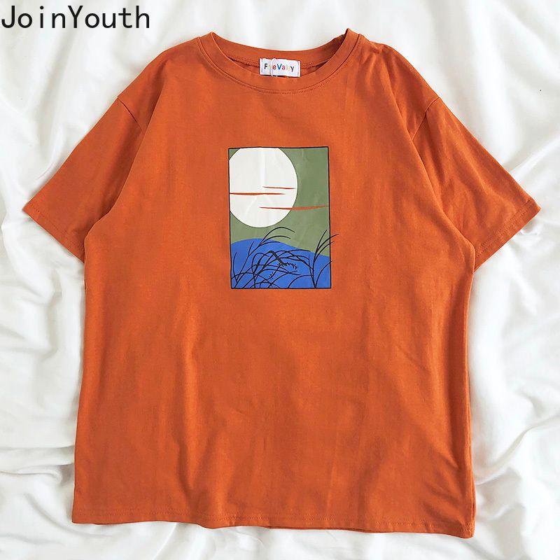 Mode Femmes Chemises Chemises Casual Loose Print Tees Arrivée Vêtements Coréen Col O-Cou Short Sleeve Tops Streetwear7A540 210506