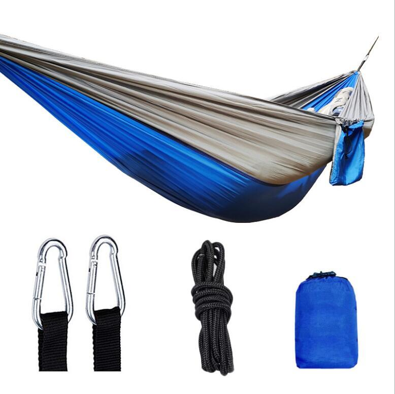Single Double Hammock Swings Adult Outdoor Backpacking da viaggio Survival Survival Caccia Letto a pelo portatile con 2 cinghierabiner 270 * 140 cm