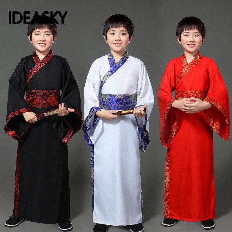 Geleneksel Antik Çin Halk Dans Kostümleri Erkek Çocuk Klasik Çocuklar Çocuk Tang Hanedanı Kostüm Hanfu Giyim Elbise P1ub #