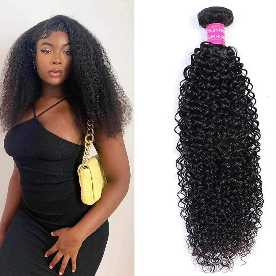 Wholesale 10A Hair Bundles Remy Hair 10-30 Inch Natural 1B Curly Weaves Virgin Human Hair Extensions Malaysian Indian Peruvian Brazilian