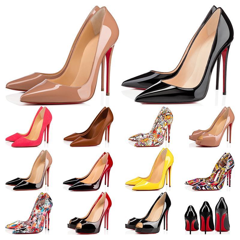 Zapatos de diseño de zapatillas de deporte So Kate Styles Zapatos de tacón alto Zapatos de tacones bajos rojos 12CM 14CM Bombas de punta de cuero genuino Punta de goma 35-42