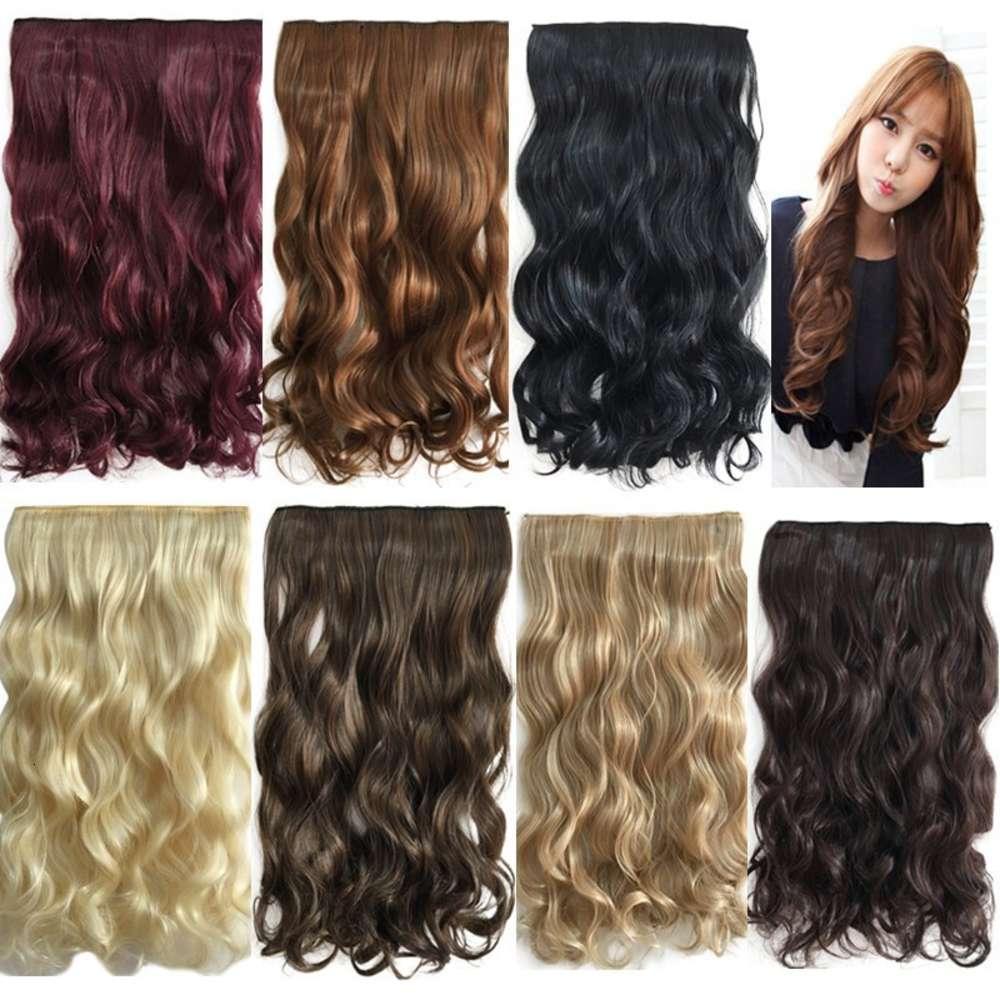 Einteilige Frauen 5-Karten-Lockenleiter einteiliger einteiliger dickerer nachlaufloser Clip Chemische Faserhaarvorhang Haarverlängerung