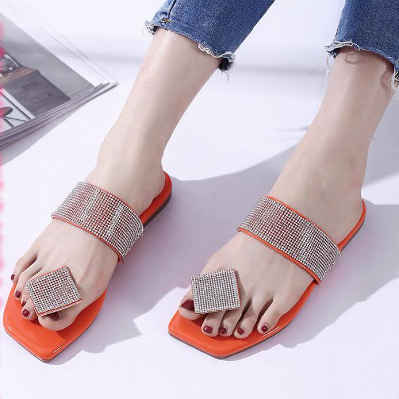 Moda mujer zapatillas verano flip-champs rhinestone hembra playa zapatos casuales pisos sandalias al aire libre mujer hogar antideslizante calzado