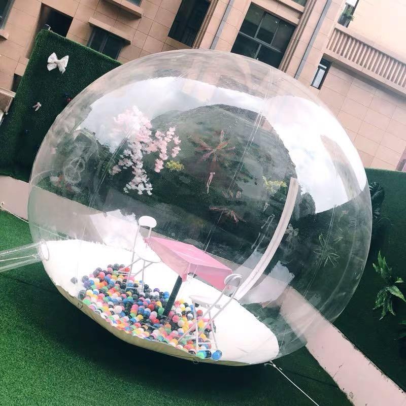 Палатки и укрытия надувные пузырьки палатки прозрачный 360 ° купол с воздушным воздуходувкой Открытый кемпинг Продукт Витрина Рекламное событие EXP