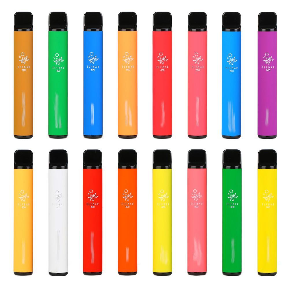 Oryginalny Pasek Elf 800 Elektroniczny papierosy Vape Urządzenie jednorazowe Hotsale 800Puffs 550mAh Battley 3.2ml Dyspozieszkania 2% i 5% Dostępne 16 Kolory