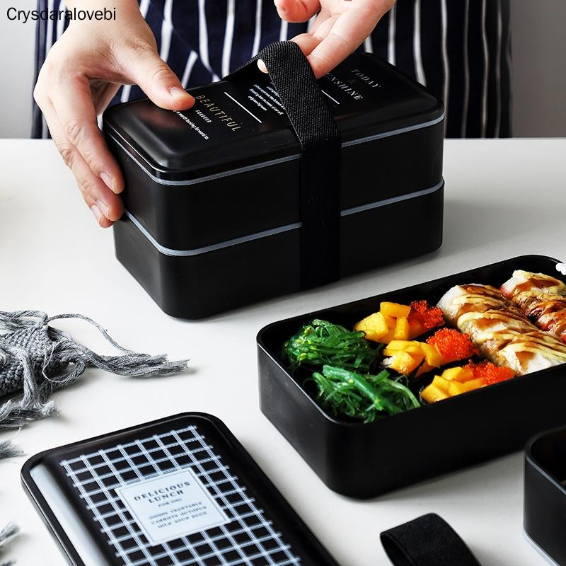 BPA Free Plastic Lunch Box Double Layer Food Container Multifunction Adults Lady Kid Lunchbox Microwaveable Black Box 2000ml