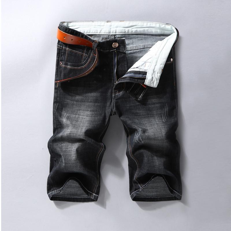 Männer Denim Shorts Mode Slim Fit Elastische Baumwolle Black Wash Ripping Jeans Männliche Marke Kleidung 2021 Sommer