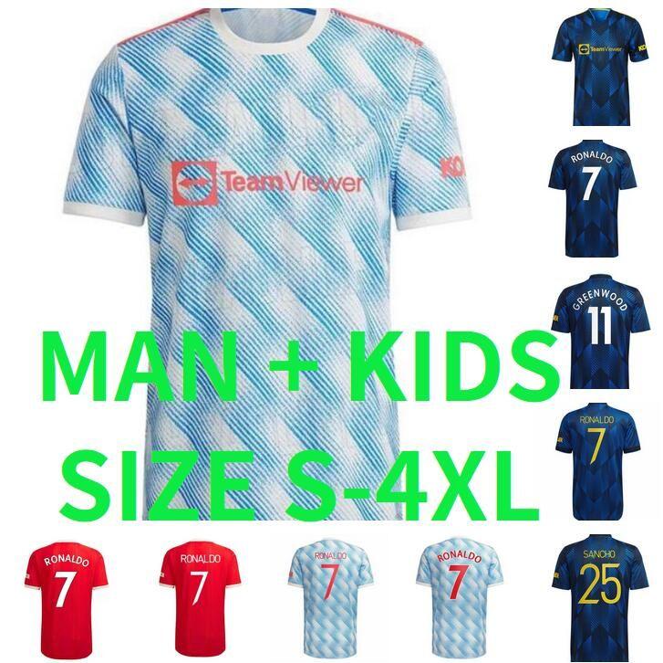 S-4XL 21 22 Ronaldo Sancho Fußball-Trikots Bruno Shaw R.Varane Fernandes Lingard Rashford Greenwood Pogba Cavani Martial Football Hemden 2021 2022 Mann Kinder Kit 3XL 2XL
