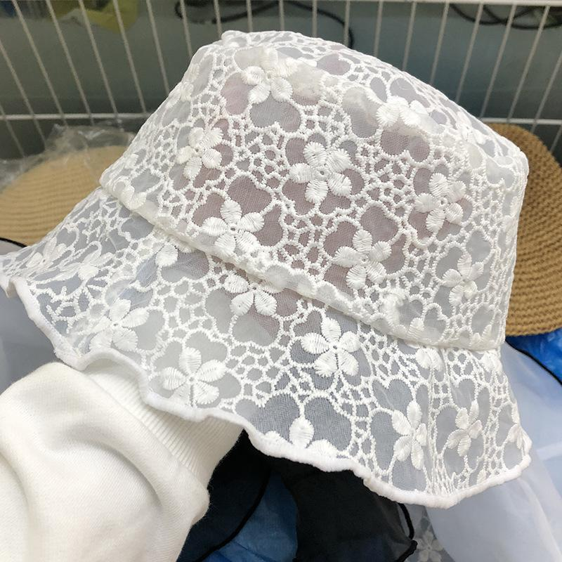 Women's double layer lace fisherman's hat with encrypted hemline
