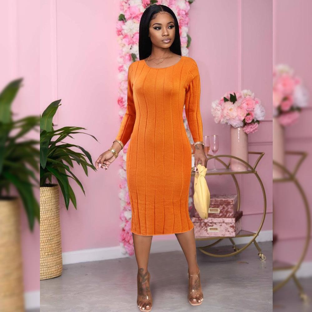 2021 عارضة الخريف المرأة طويلة الأكمام الصلبة عارية الذراعين اللباس السيدات الملابس ضئيلة