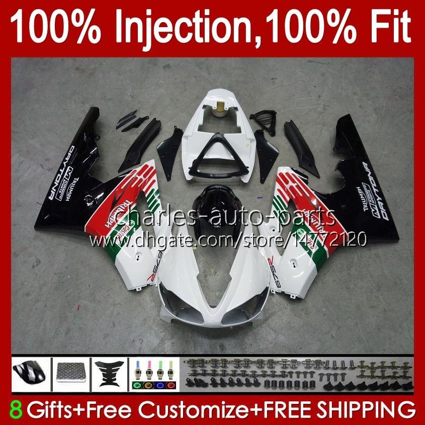 Triumph Daytona 675 R 675R 02 03 04 05 2006 2007 2008 Kit 106hc.106 Daytona675 Daytona 675 2002 2003 2004 2005 06 07 08 OEM 페어링 광택 화이트