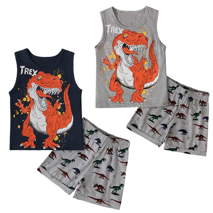 소년 의류 세트 소년 양복 어린이 복장 어린이 옷 여름 공룡 인쇄 조끼 탑 반바지 2 피스 캐주얼 B7486
