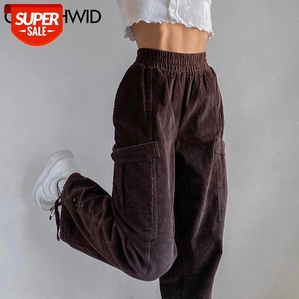 Vintage Harem Corduroy Calças Streetwear Mulheres Moda Casuais Soltos Carga Juntos Sweatpants Harajuku Calças Marrons Partipantes # PI3Q