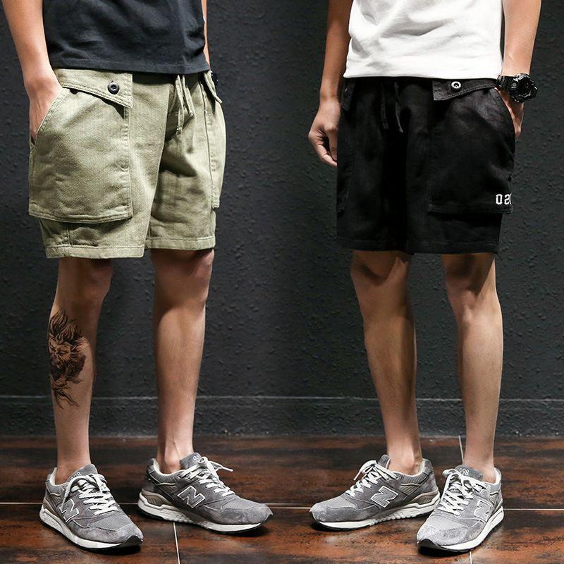 Pantalones cortos para hombres shorts shorts verano sueltos deportes hombre casual capris de gran tamaño chino pantalones coreano tendencia