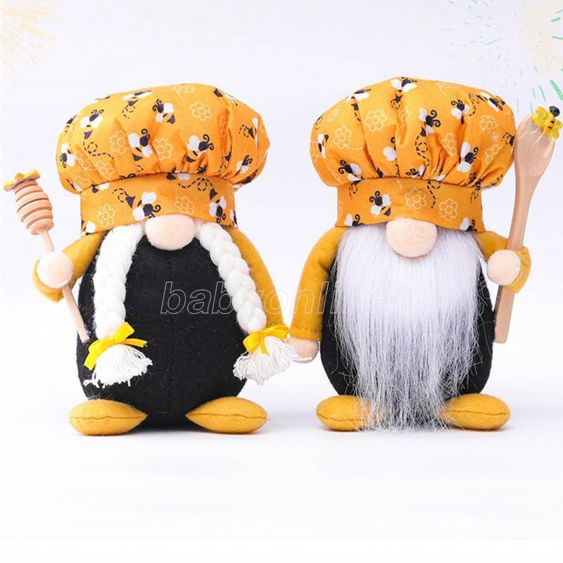 2021 New Bee Dwarf Chef Gnome Mini uomo donna Scandinava Honey Bee Dwarf Doll Doll Ape Ape Home Agriturismo Cucina Decor