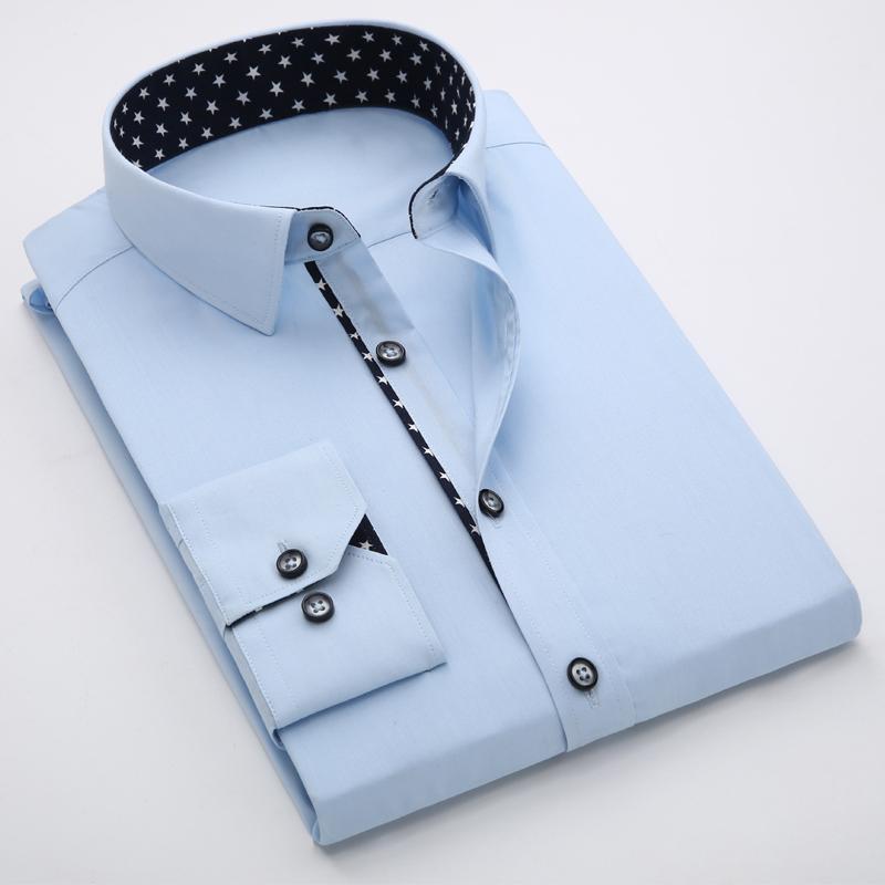 셔츠 남자 좋은 봄 패션 솔리드 셔츠 슬림 긴팔 코튼 비즈니스 드레스 homme CX181 남자 캐주얼