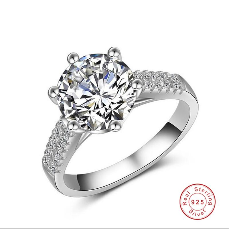 Rulalei Brand Cocktail Luxury Jewelry Real 925 Sterling Silver Large Round Cut White Topaz CZ Diamond Gemstones Party Eternity Women Wedding Bridal Ring Set Gift