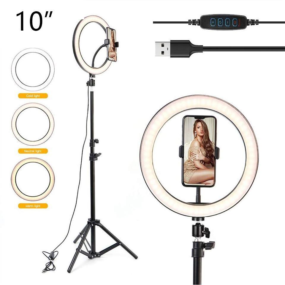 """Luz del anillo de Selfie LED 10 """"para la luz de la luz / maquillaje / maquillaje de la luz de la belleza regulable con trípode 26 cm Lámpara de luces fotográficas de la luz fotográfica"""