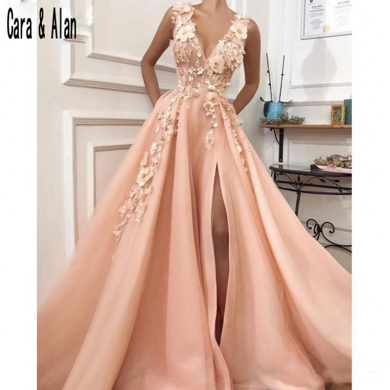 파티 드레스 Peach Prom 2021 V 목 3D Applique Dress Vestido Formatura 스플리 긴 이브닝 가운