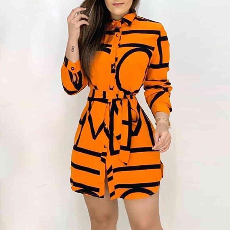 Women's Dress Blouse 2020 Spring Elegant Long Yellow Long Sleeve Shirt Dress Fashion Waist Lace DressC0510