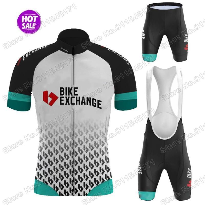Conjuntos de carreras 2021 Equipo Bike Exchange Men Cycling Jersey Set Maillot Summer Bicycle Ropa Camisetas Camisetas Traje BIB Shorts MTB Wear