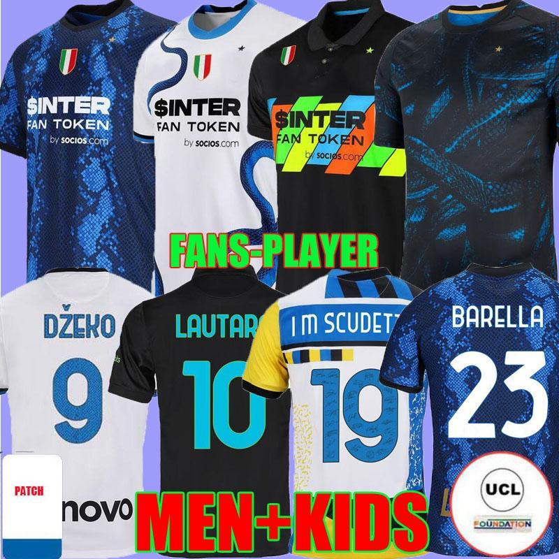 Inter Soccer Jerseys Third Dzeko Milan Calhanoglu Barella Lautaro Eriksen Alexis 21 22 Perisic Nainggolan Football Shirts 2021 2022 الرجال Kids Kit Fans Player