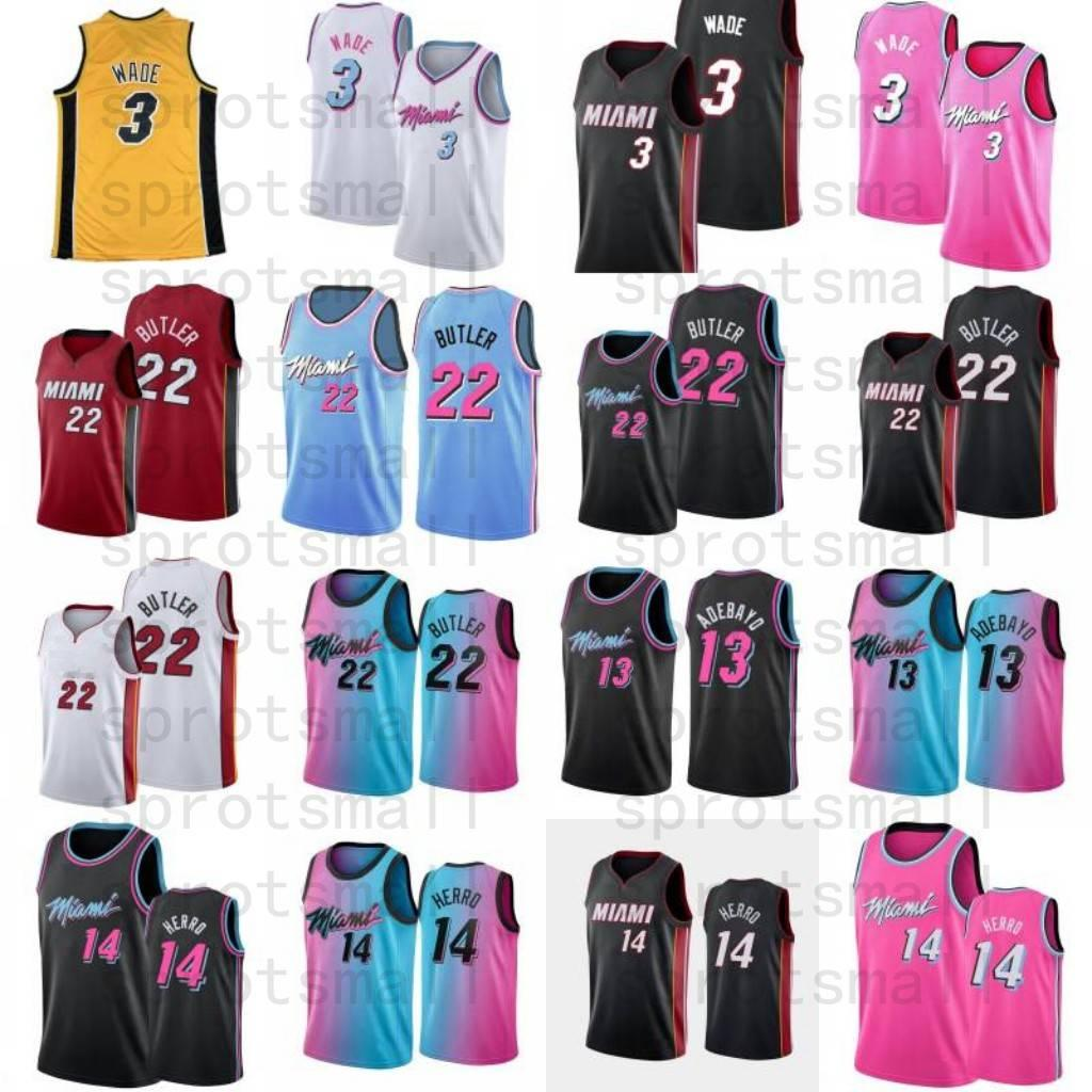 Dwyane 3 Wade Jimmy 22 Butler Basketball Jersey Mens Bam 13 Adebayo Tyler 14 Herro City Shirt