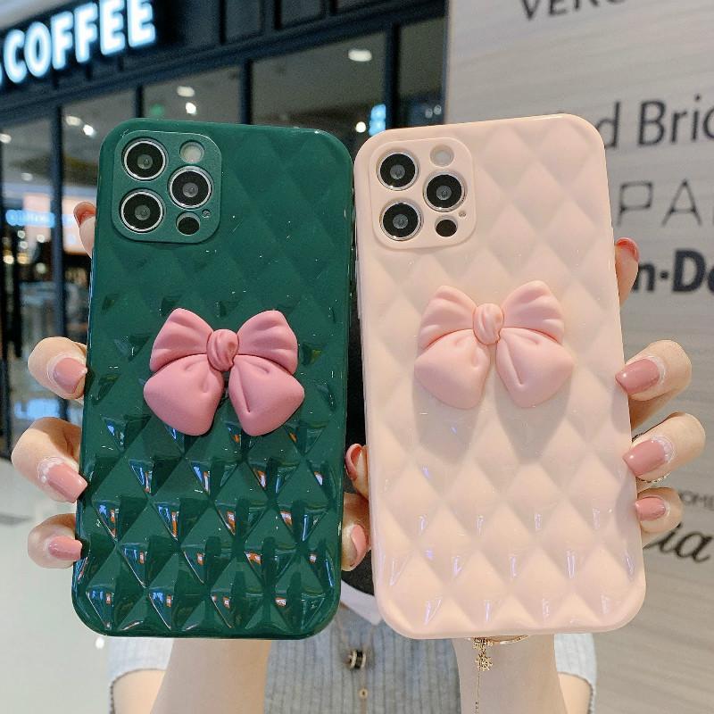 Modello di griglia rombina Cute Butterfly Cell Phone custodie per iPhone 12 Mini 11 Pro XR XS MAX 7 8 6S PLUS SE 2 Cover Cover Soft