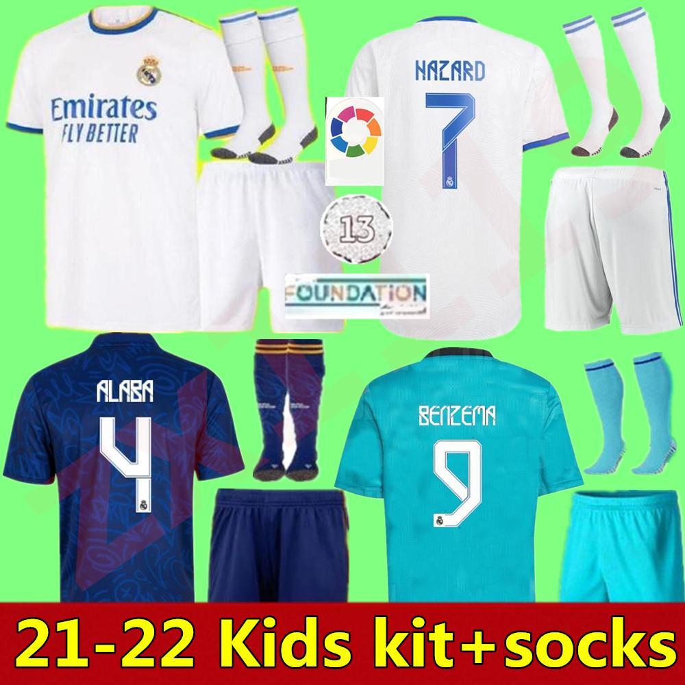 21 22 Gerçek Madrid Futbol Formaları Çocuk Seti Setleri 2021 2022 Eve Dight 3rd Benzema Hazard Asensio Vinicus JR Modric Alaba Erkek Futbol Gömlek Kitleri Üniformaları