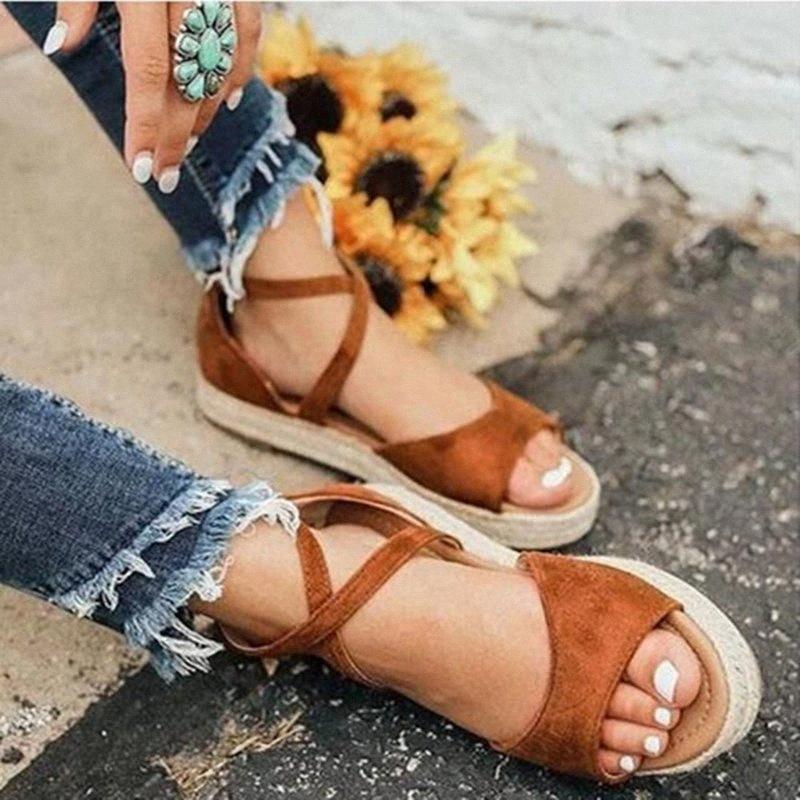PuimimentUa 2020 Femmes Sandales Femmes Fashion Fashion Peep Toe Design Sandales Roman Femmes Chaussures plates Été Plage Chaussures Chaussures Blancs Chaussures Blancs 03nm #