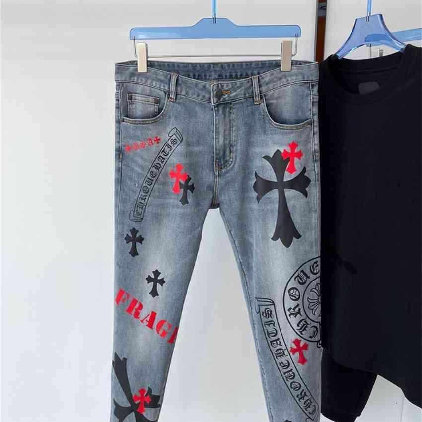 CH H / GARETTI / CROMO CROSIN INS Summer Fashion Crosin Horseshoe cross ricamo stampa jeans casual da uomo con piccoli piedi