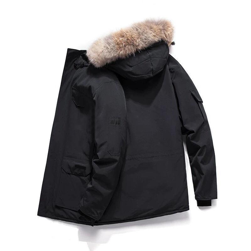 겨울 겉옷 망원 Womens 디자이너 다운 재킷 화이트 거위 방풍 파커 긴 가죽 칼라 모자 따뜻한 진짜 늑대 모피 세련된 고전적인 모험 코트 캐나다