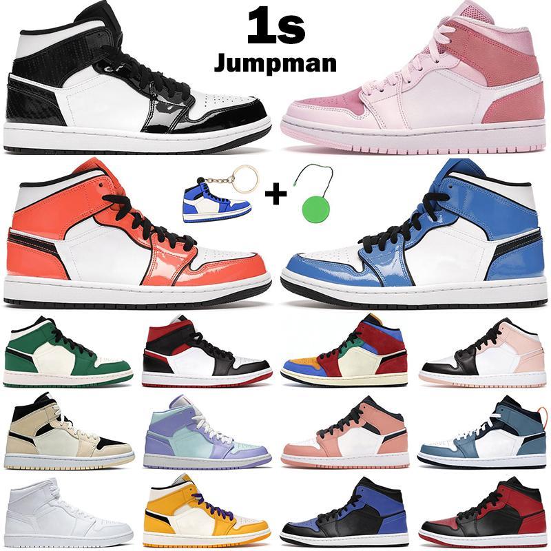 Hommes Femmes Basketball Chaussures 1S Mid Jumpman 1 Lumière fumée Gris Bleu Royal Blue Signal Turf Orange White Shadow Gym Gym Hommes Baskets Sneakers