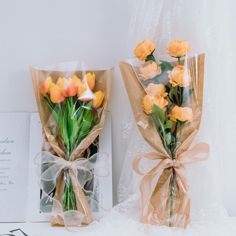 Сумка для упаковки с одной розой прозрачный водонепроницаемый букет цветок многофункциональный удобный мешок для пакетов для подарочной упаковки