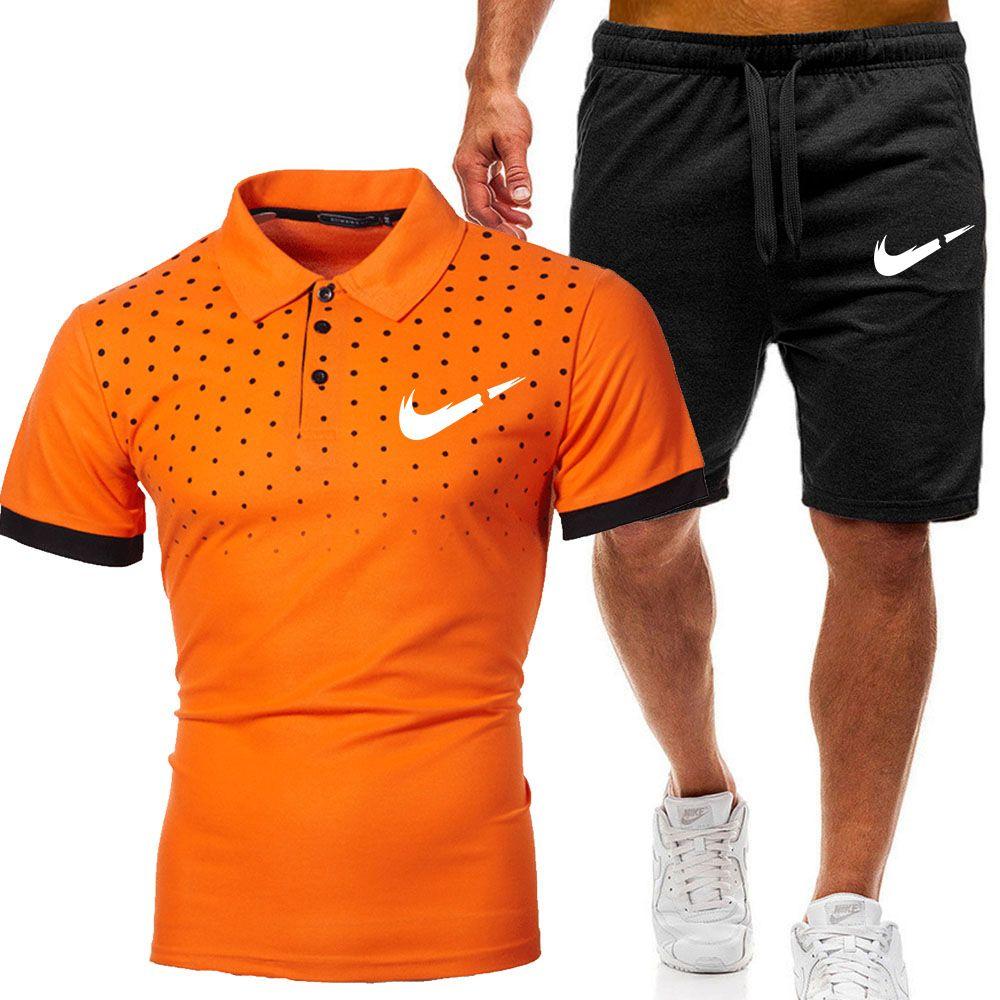 2021 Новая спортивная одежда мода дизайн футболки + брюки 2 частей сплошной цветной костюм высокого качества мужская спортивная одежда хип-хоп мужские бежевые брюки